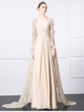 Pleats Sequins Lace Long Sleeves Evening Dress