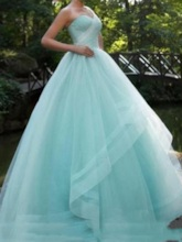 One-Shoulder Ball Gown Beaded Pleats Brush Train Prom Dress