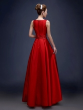Straps Sequins Beaded Pockets Red Evening Dress