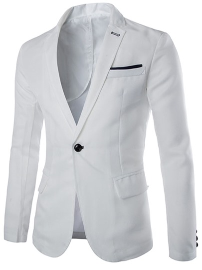 Notched Collar Slim Fit Men's Blazer with One Button