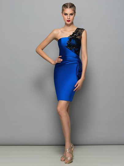 Sheath One-Shoulder Lace Pleats Sequins Short Cocktail Dress