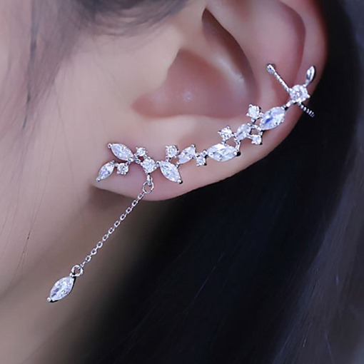 Exaggerated Rhinestone Tassel Ear Cuff