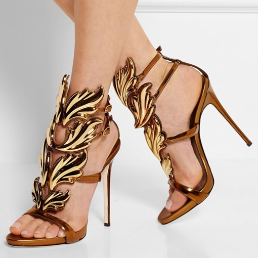 T-Shaped Buckle Strappy Stiletto Heel Open Toe Prom Sandals