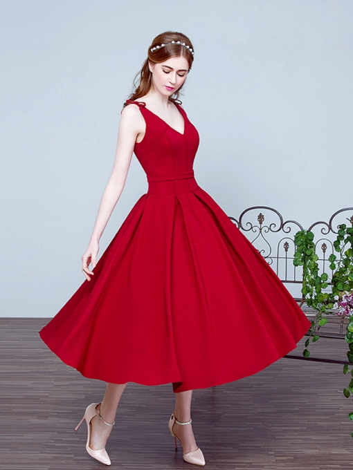 A-Line V-Neck Bowknot Sashes Tea-Length Prom Dress