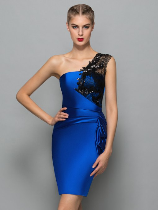 Sheath One-Shoulder Sequins Lace Cocktail Dress