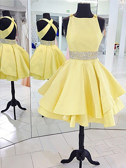 Criss-Cross Straps Beading Tiered Daffodil Cocktail Dress