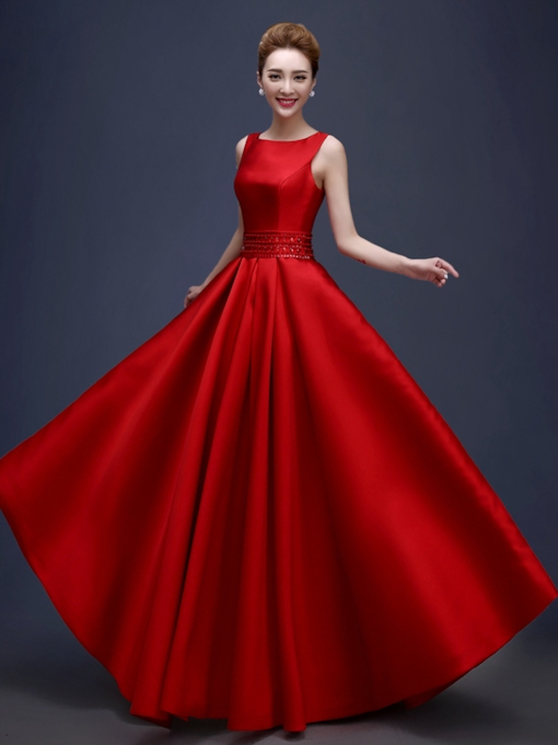 A-Line Bateau Beaded Rhinestone Pockets Evening Dress