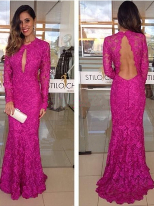 Open Back Long Sleeves Sheath Lace Evening Dress
