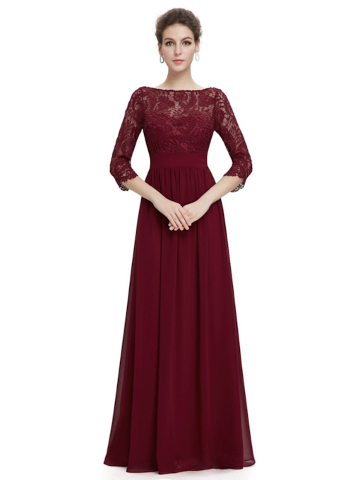 3/4 Length Sleeves A-Line Bateau Lace Floor-Length Evening Dress