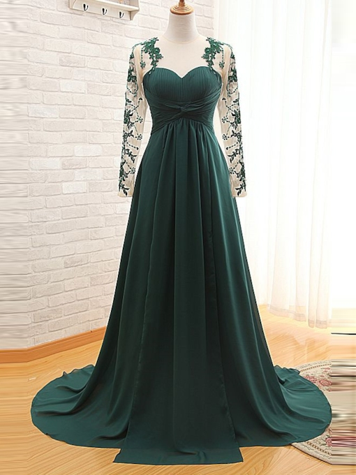 A-Line Sweetheart Appliques Pleats Evening Dress