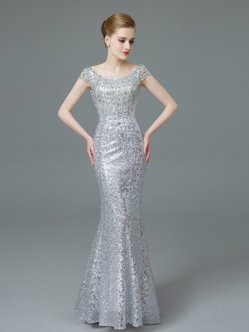 Cap Sleeves Beading Sequins Evening Dress