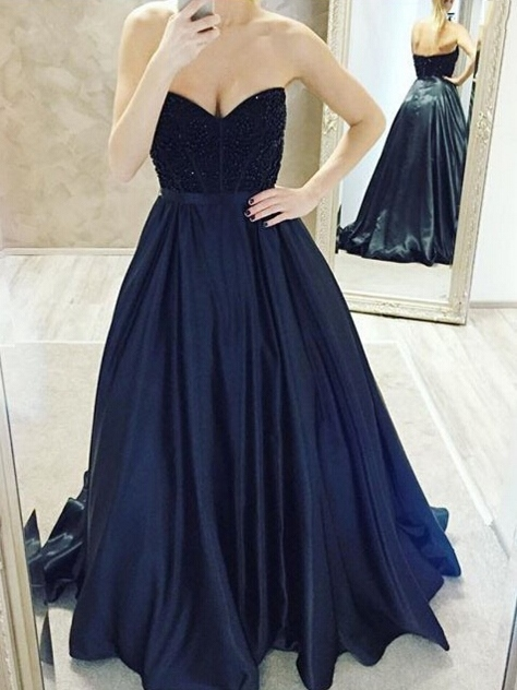 Sweetheart Beading Dark Navy Prom Dress