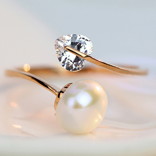 Love Zircon Pearl Opening Ring