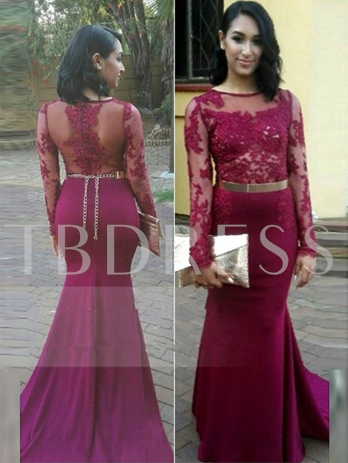 Long Sleeves Mermaid Scoop Appliques Sashes Court Train Evening Dress