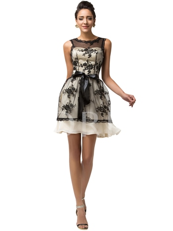 Scoop Ball Gown Lace Sashes Short Cocktail Dress