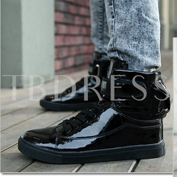 Velcro Round Toe Flat Low Heel Ankle Lace-Up Men's Sneakers