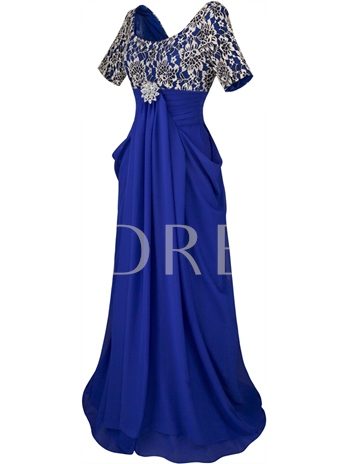 A-Line Scoop Rhinestone Brooch Pleats Evening Dress