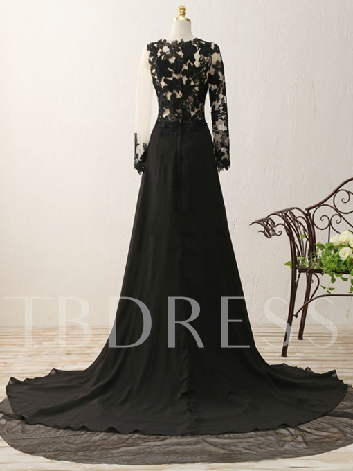 A-Line Split-Front Scoop Appliques Evening Dress