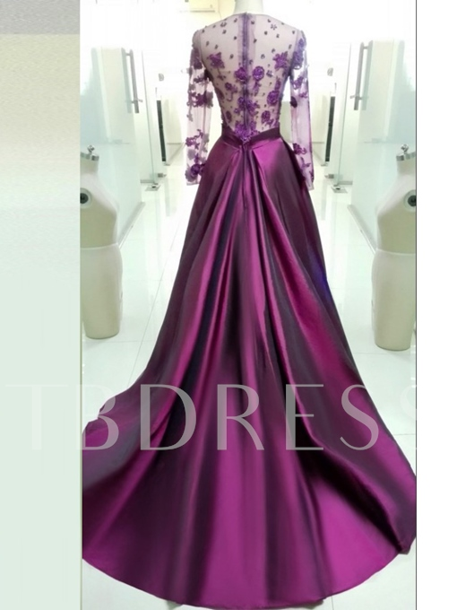 Jewel A-Line Flowers Long Sleeves Court Train Evening Dress