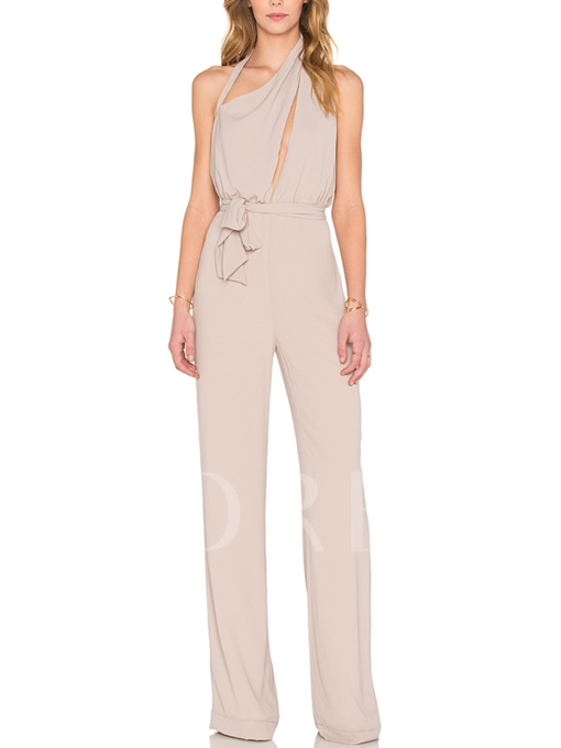 Rose Quartz Halter Lace-Up Women's Jumpsuit