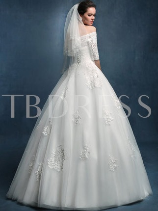 Off the Shoulder Half Sleeves Ball Gown Wedding Dress