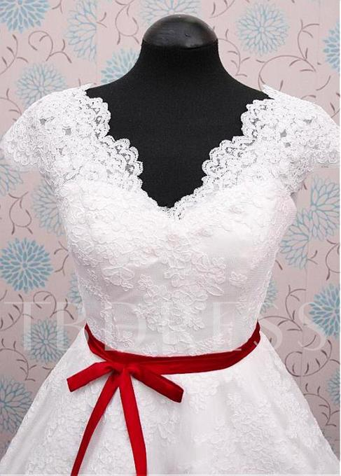 V-Neck Cap Sleeves A-Line Short Wedding Dress