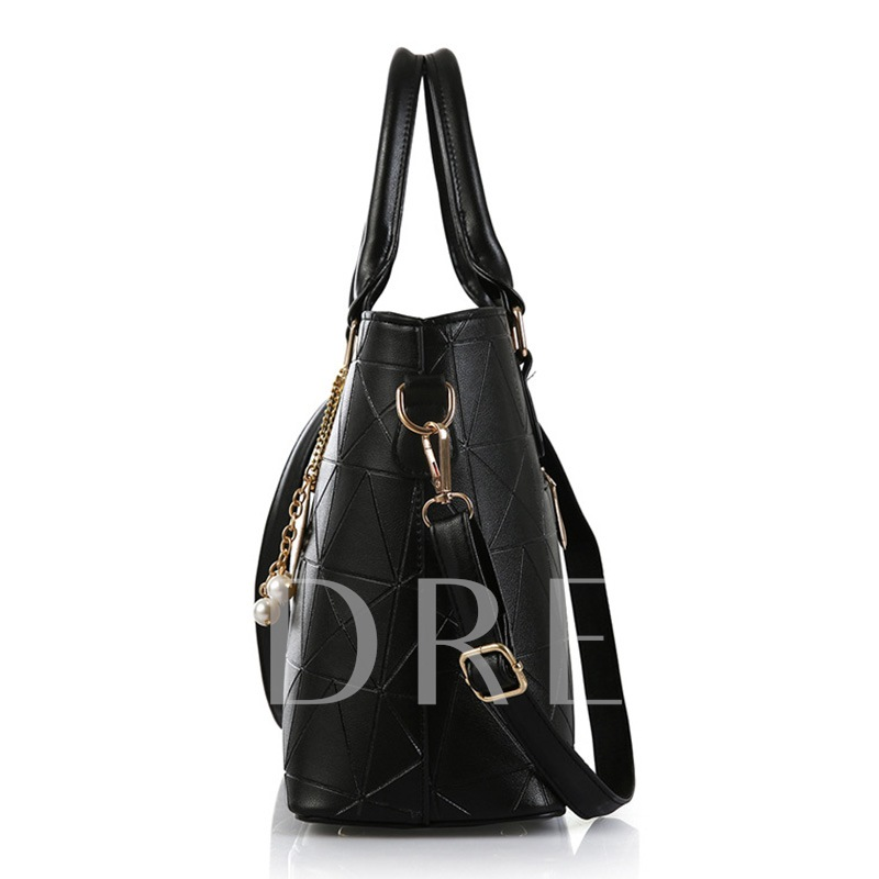 Vogue Geometry Grain Metal Pendant Women's Tote Bag