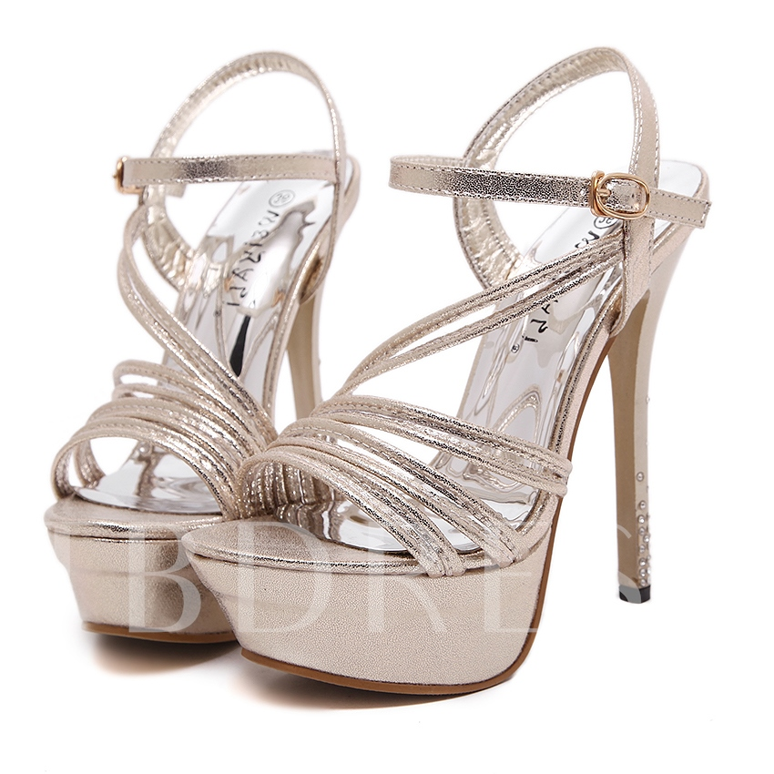 Open Toe Plain Platform Stiletto Heel Ankle Strap Women's Sandals