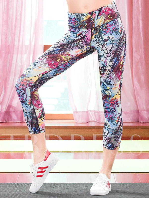 Plants Printed Form-Fitting Breathable Women's Capri Pants