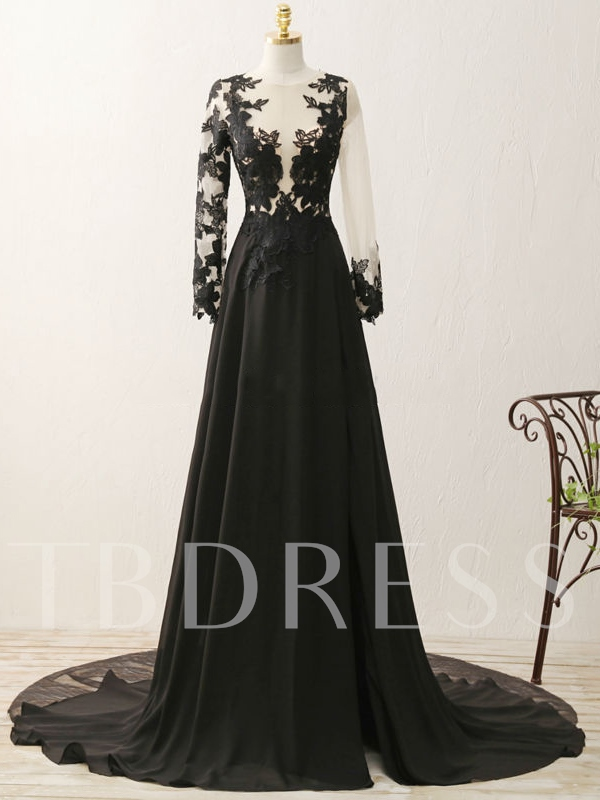 A-Line Split-Front Scoop Appliques Long Sleeves Evening Dress 2019
