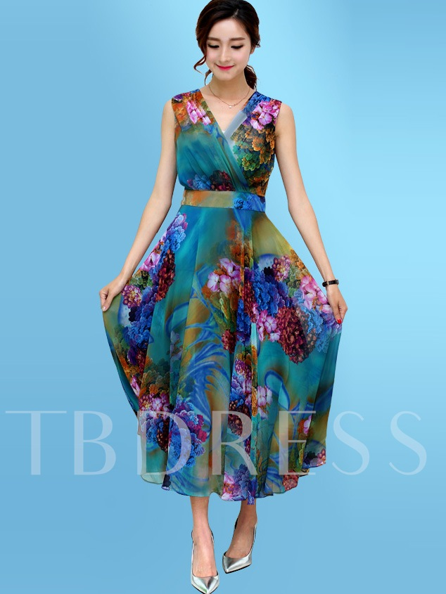 V Neck Print Women's Maxi Dress