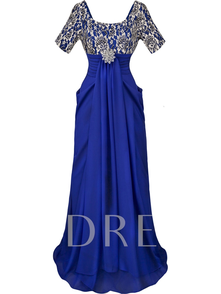 Rhinestone Brooch Lace Short Sleeves Evening Dress