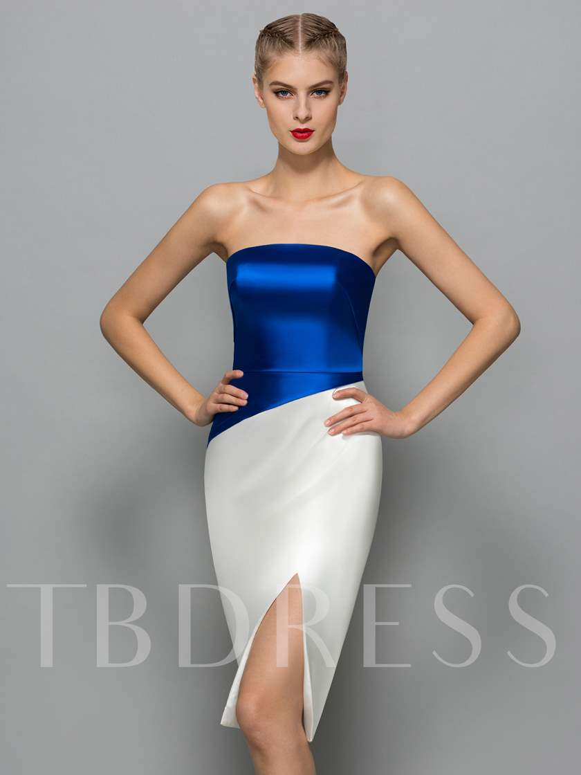 Sheath Strapless Split-Front Cocktail Dress