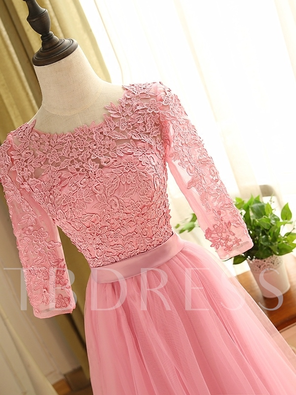 Half Sleeves Mother Of The Bride Dress With Lace
