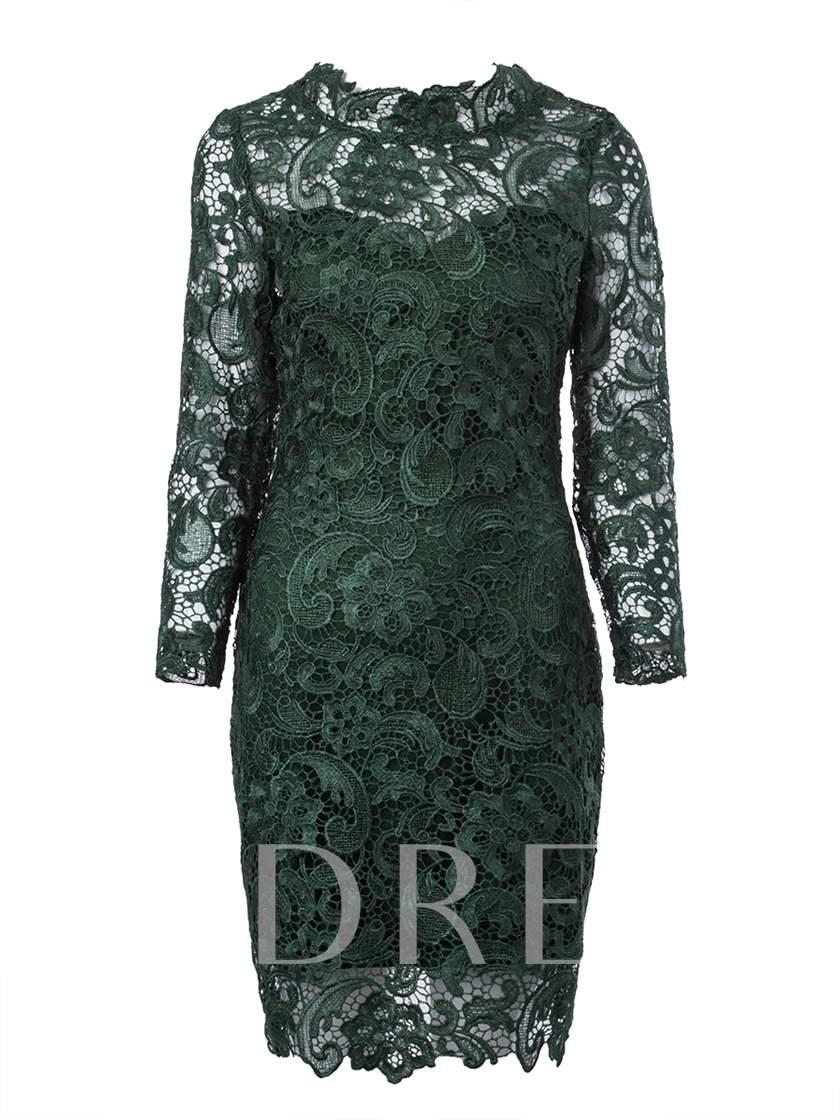 Three-Quarter Sleeve Lace Women's Sheath Dress (Plus Size Available)