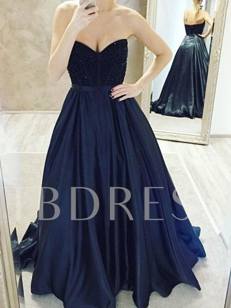 A-Line Sweetheart Floor-Length Prom Dress