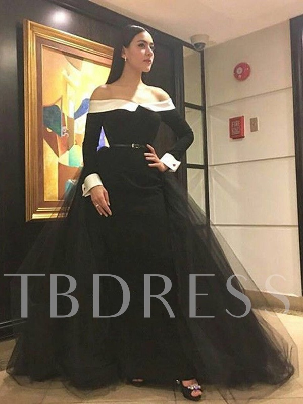 A-Line Off-the-Shoulder Contrast Color Sashes Evening Dress