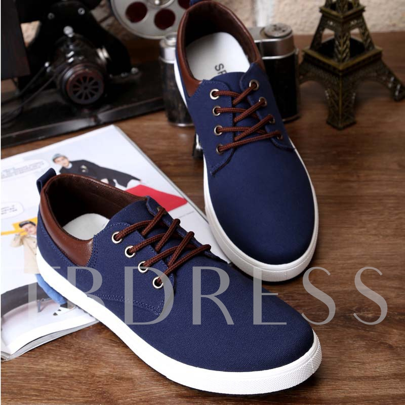 Round Toe Flat Heel Lace-Up Patchwork Men's Loafers