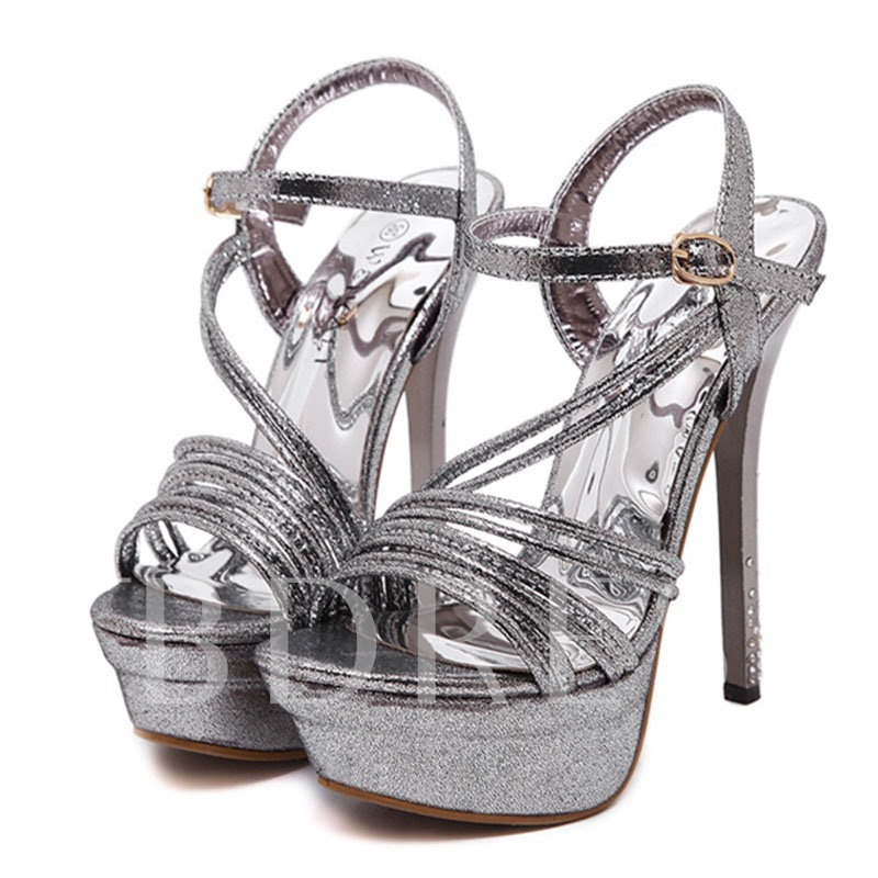 Open Toe Plain Ankle Strap Platform Women's Sandals