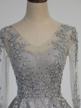 Sequins Beaded Appliques Evening Dress with Long Sleeves