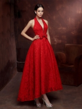 A-Line Halter Beading Bowknot Lace Asymmetry Evening Dress