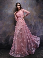 Appliques 3D Flowers Beading Long Sleeves Prom Dress