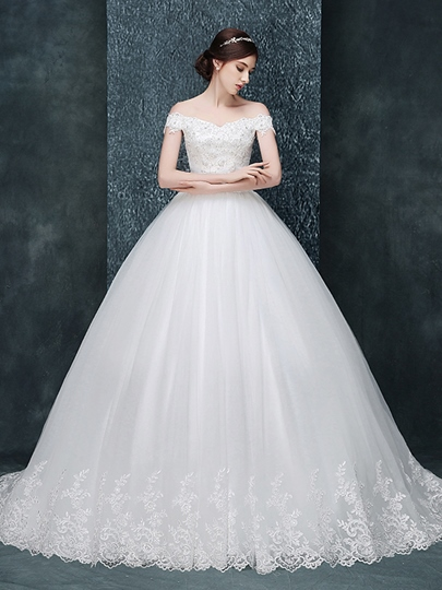 Off-The-Shoulder Appliques Chapel Train Ball Gown Wedding Dress