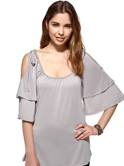 Cold Shoulder Chiffon Women's Blouse