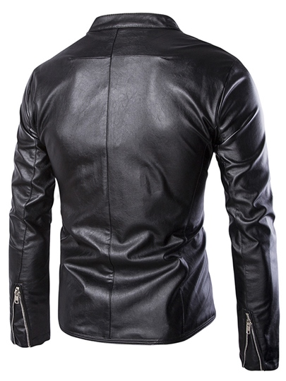 Stand Collar Zipper Men's Jacket with Solid Color