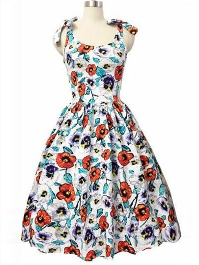 Polka Dots Sleeveless Bowknot Women's Day Dress (Plus Size Available)