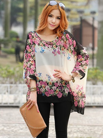 Floral Print Loose Round Neck Women's Blouse