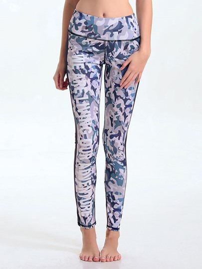 Spandex Camouflage Words Printed Skinny Breathable Women's Running Pants