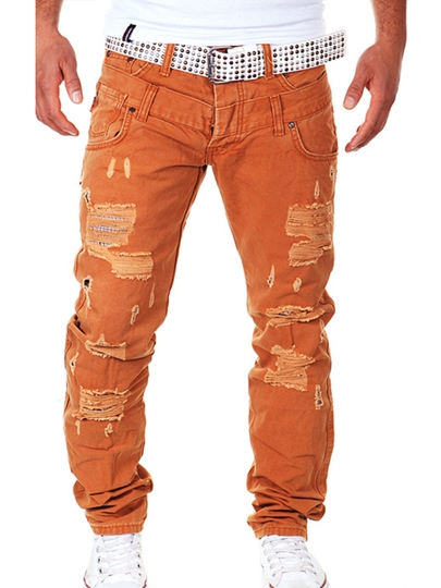 Mid-Waist Hole Vogue Slim Men's Denim Pants