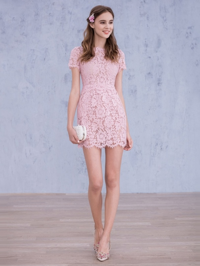 Short Sleeves Sheath High Neck Lace Short Homecoming Dress